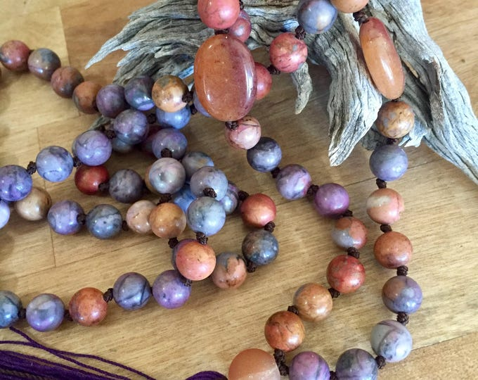 Mojave Rose Jasper Mala + Agate aacents - 108 bead 8mm