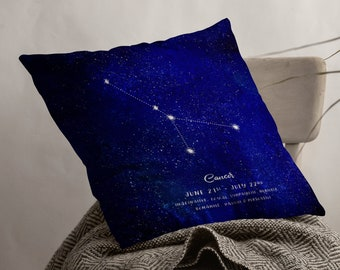 Cancer Constellation  Astrology Spun Polyester Square Pillow