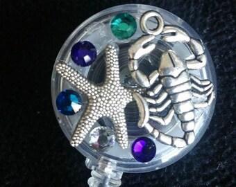 Seashore w/ Swarovski Crystals Badge Reel -- Free Shipping