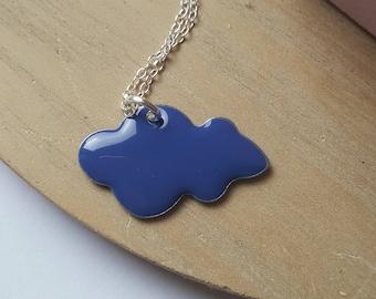 Dark blue cloud necklace