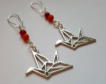 Earrings origami cranes and pearls