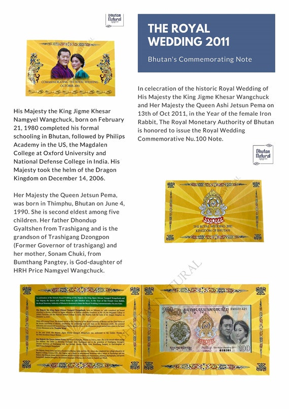 Bhutan's Currency Commemorating Royal Wedding 2011 Note