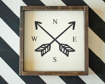 Compass Arrows - Wood Sign