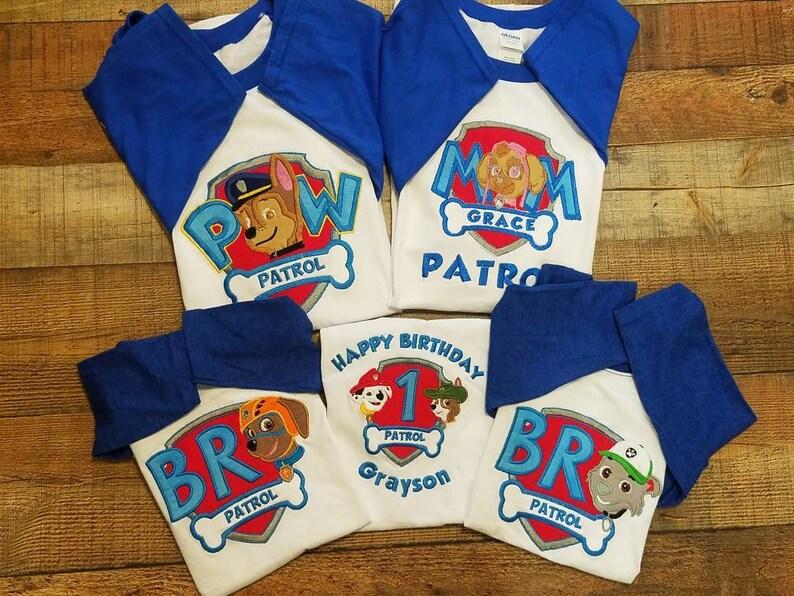455fa0faa G Paw Patrol Birthday Shirt Sky Marshal Rubble Tracker | Etsy