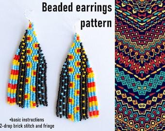 Brick stitch earrings pattern African motive Earrings Bead weaving pattern Seed bead earrings Beaded fringe earring DIY Beading tutorial PDF