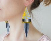 Beaded fringe earrings - Geometric tassel earrings - Yellow sun & blue sky pattern - Big Seed bead earrings - Contemporary gift for her