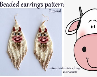 Cartoon Cow Earrings Tutorial Brick stitch earring pattern Beadweaving pattern Seed bead earrings Beaded fringe earring DIY Beading tutorial