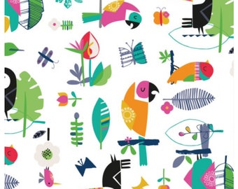 Club Tropicana - White Birds Parrots by Dashwood Studio for Sewing, Dressmaking & Quilting
