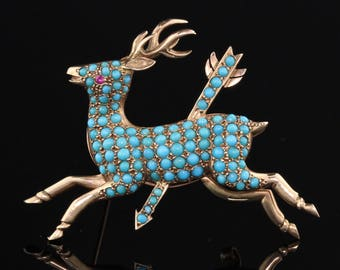 Antique Victorian 14K Yellow Gold & Turquoise Deer Brooch