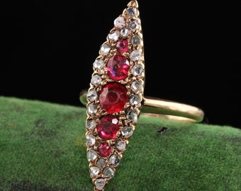 Antique Victorian 14K Yellow Gold Ruby and Rose Cut Diamond Navette Ring