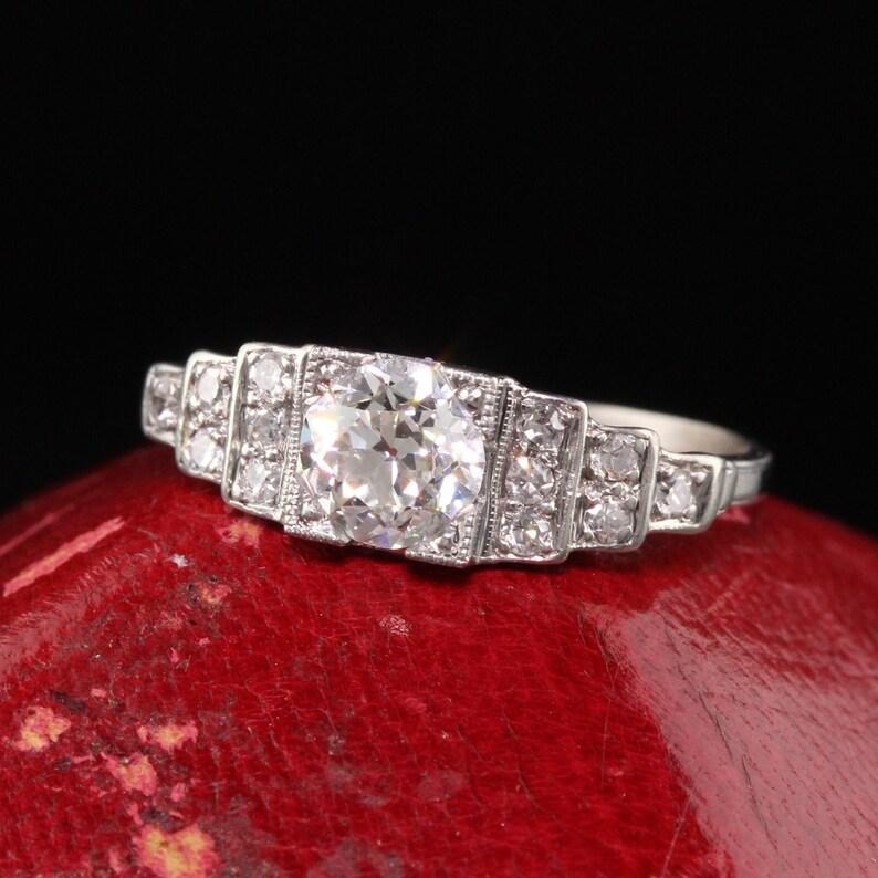 Antique Art Deco Platinum Old European Diamond Engagement Ring image 1