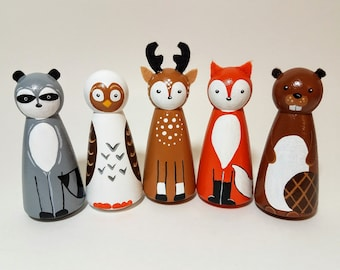 Woodland Animal Peg Doll Set, Wooden Forest Creatures, Hand Painted Wooden Animals