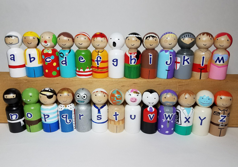 The a z des poup es peg set alphabet peg dolls jouet etsy - Jouet alphabet ...