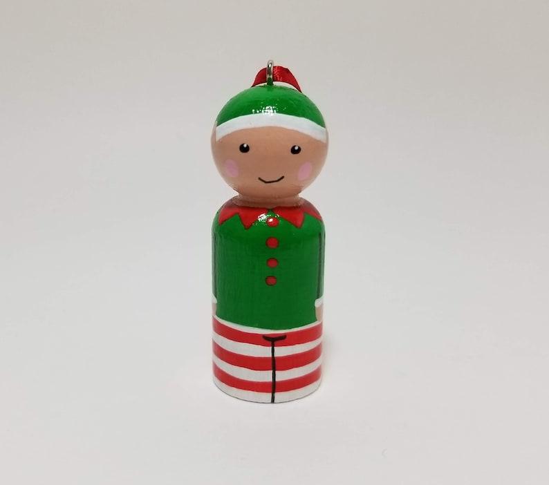 Christmas Peg Doll Set With Ribbon Wooden Christmas Characters Seven Peg Doll Tree Ornaments