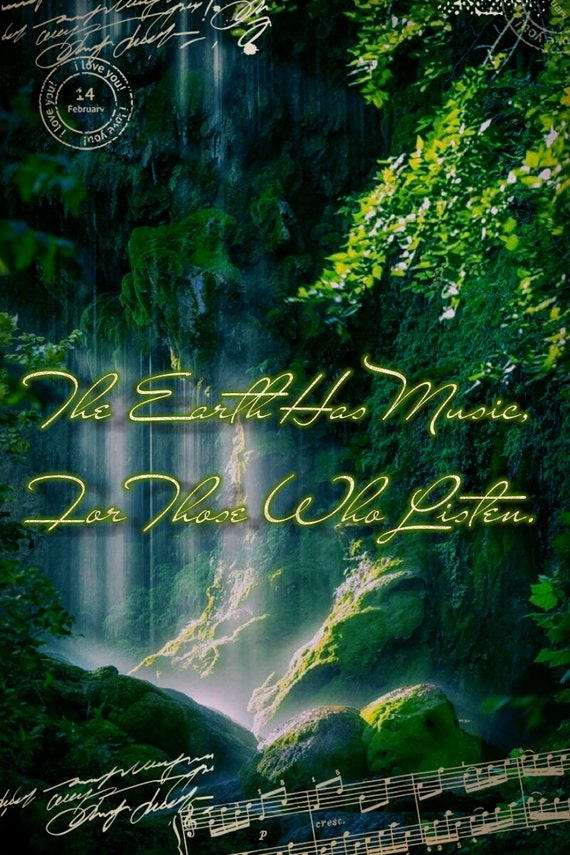 The Earth Has Music For Those Who Listen Digital Art Download Decor,  Nature, Wall Hanging, Quote, Shakesphere Positive, Inspirational