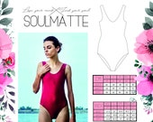 PDF instant download basic swimsuit pattern, one piece swimwear, basic bikini, Baywatch swimsuit S,M,L M,L, EU sizes 34. 36, 38, 40, 42.