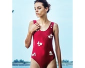 Red swimsuit bugs decor, white red swimwear, baywatch swimsuit, flower decorated, bodice decorated, leotard red, flower decor bodysuit