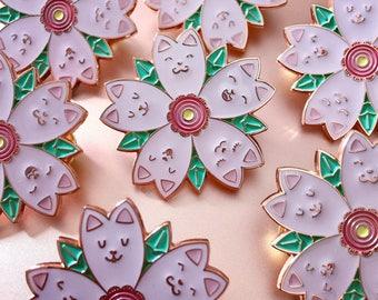 Sakura Kitten enamel pin