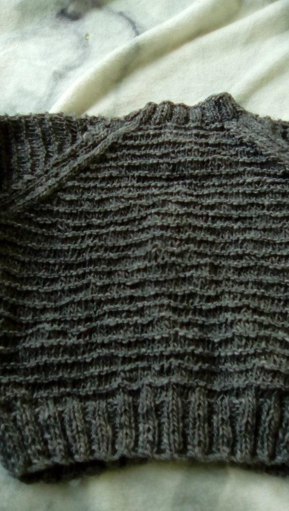LKK Toddlers aran  cardigan 2-4 years original design dark grey  woolacrylic yarn,aran pattern