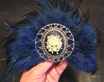 Medusa Skull Cameo, Dark Blue and Black Feathered Hair Fascinator