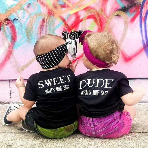 Dude Sweet Whats Mine Say Wheres My Car Tattoo Baby Toddler Black Tee Shirt Boy Girl Funny Twins Sibling Set