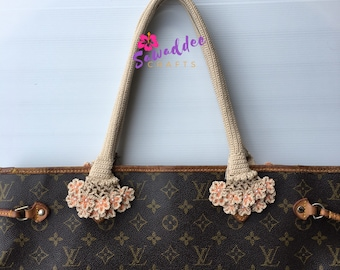 Free Shipping: Beautiful White Cream Orange MelonFlower Design Handmade Handle Cover/Protector for LV Louis Vuitton Neverfull MM