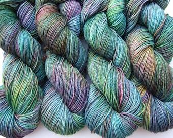"Hand dyed yarn luxury sock weight Superwash Merino Wool, Silk ""Mallard"" High Twist, teal, green, turquoise, red, brown 100g"