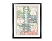 Versailles Map Vintage French Garden Poster Print on Matte Photo Paper Decorative Antique Wall Decor City Map of France