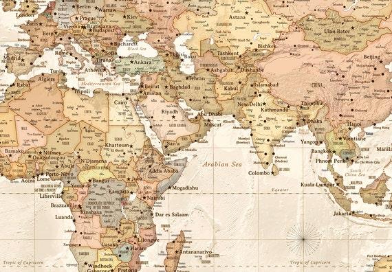 Modern Day World Map.Modern World Map 31x44 Canvas Map Modern Map Etsy