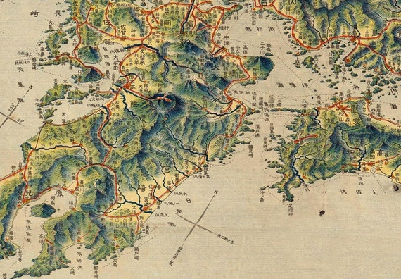 Ancient Map Of Japan.Map Of Japan 33x 44 Canvas Map Vintage Map Etsy