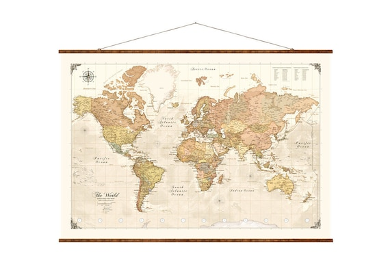 Modern Map Of The World.Modern World Map Up To Date Roll Down Canvas Decorative Scroll Map Push Pin Bestseller