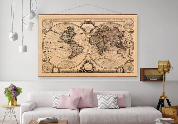 Roll Down World Map.World Map 44x63 Canvas Map World Map Vintage Etsy