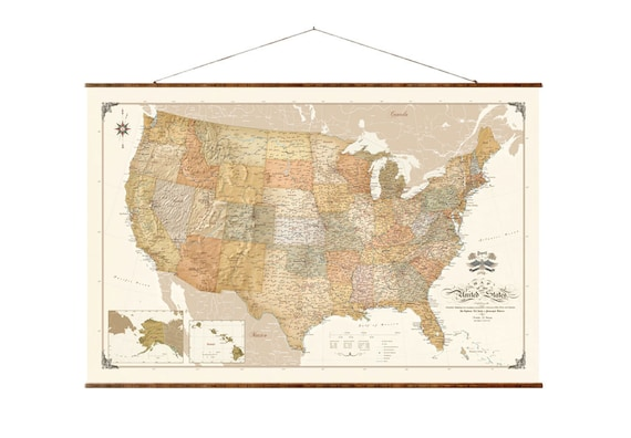 Modern Us Map.United States Map 30x44 Canvas Map Modern Map Etsy