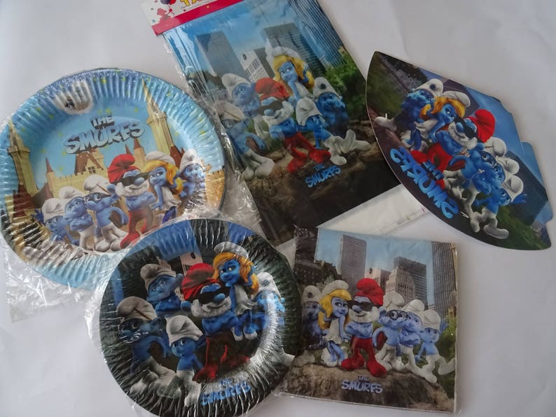 The Smurfs Party Supplies Decorating Napkins Plates Tablecover Etsy