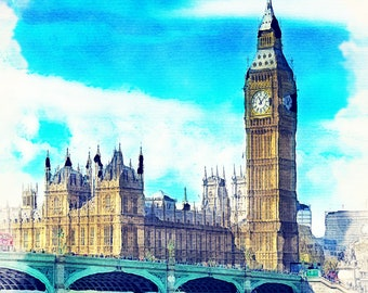 Palace of Westminster, London Colourful Framed Art Print Picture Photo, Giclée Print , Watercolour Print, Wooden White Frame 25 cm x 25 cm