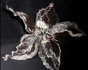 Large flower brooch felted wool