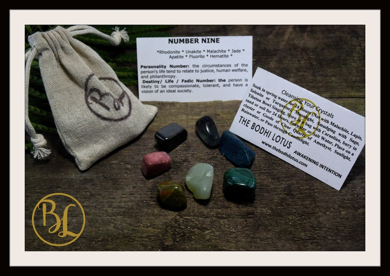 Number 9 NINE Gemstone Kit Numerology Gemstone Kit #9 Gemstone Set Healing  Crystals Stone Intention Stones Lithiotherapy Number 9 Gemstones