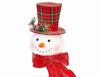 Snowman Head Tree Topper Brand New Just In Red Plaid Top Hat W Frosted Pine Button Eyes Carrot Nose Red Snowy Scarf