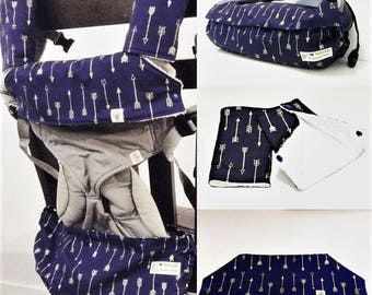 Baby carrier storage cover(reversible) , drool pads for Ergo, Beco, Tula, Lillebaby, Boba, Lillebaby - Arrows(navy)-Gift for new mom
