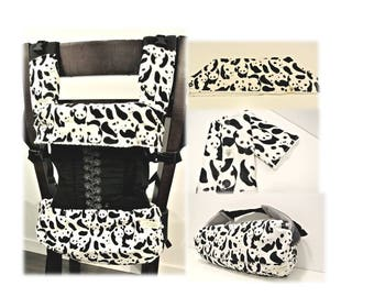 Panda/solid black-Baby carrier storage cover(reversible),bib and drool pads for Ergobaby, Beco, Tula, Lillebaby, Boba-Gift for new mom
