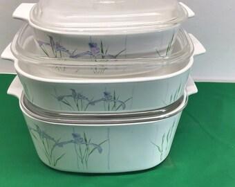 5 Piece Corning iris AKA Blue Iris Dinner Set