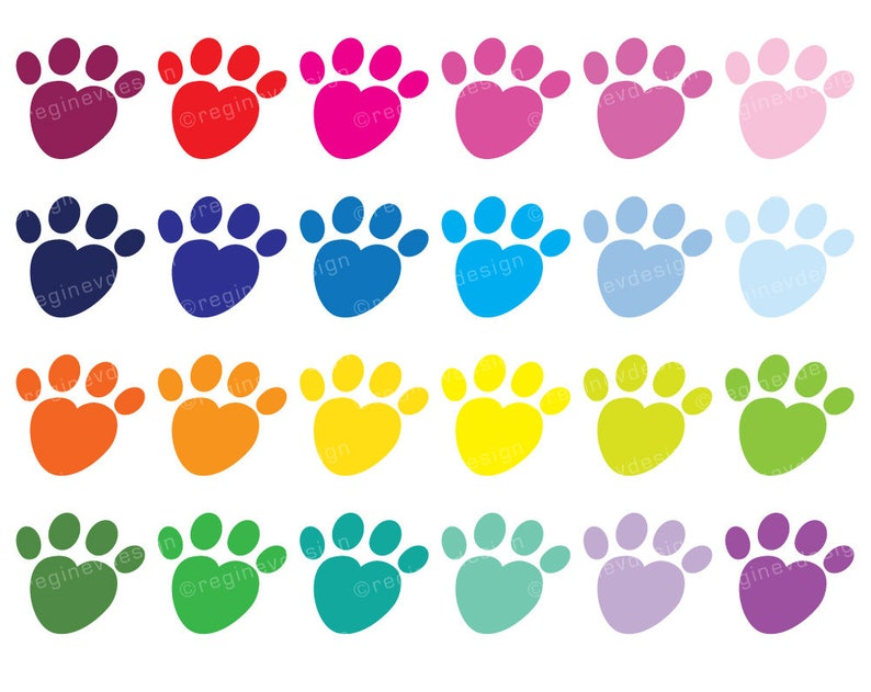 Heart Shaped Paw Print Clipart Dog Paws Paw Print Puppy Paws Vector Graphics Digital Clip Art Sticker Cute Kawaii Commercial Use