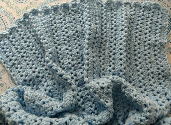 d3585dd8b6e90 Hairpin Lace Blue Baby Blanket Handmade Light Blue Baby