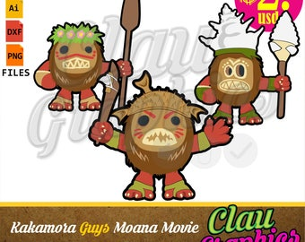 Kakamora Guys Disney Moana Movie SVG Patterns DXF Files And PNG Images Receive Cut To Make Papercraft Projects More