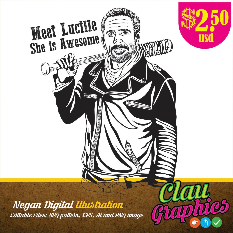 Negan the walking dead character digital Illustration on | Etsy
