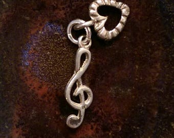 Vintage sterling silver music note treble clef and heart i love music charm necklace pendant or keychain charm