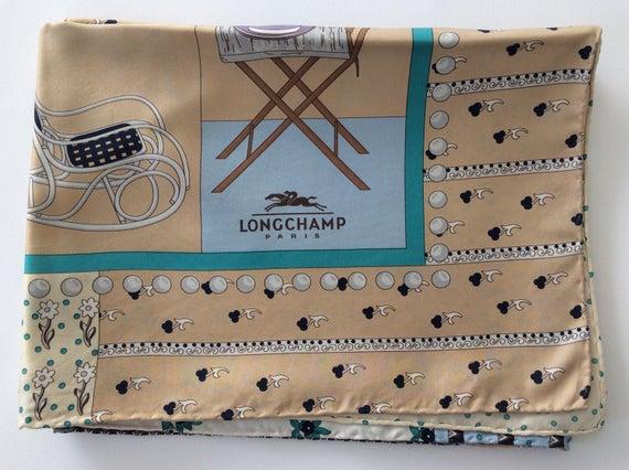 LONGCHAMP, silk scarf, vintage scarf, vintage fash