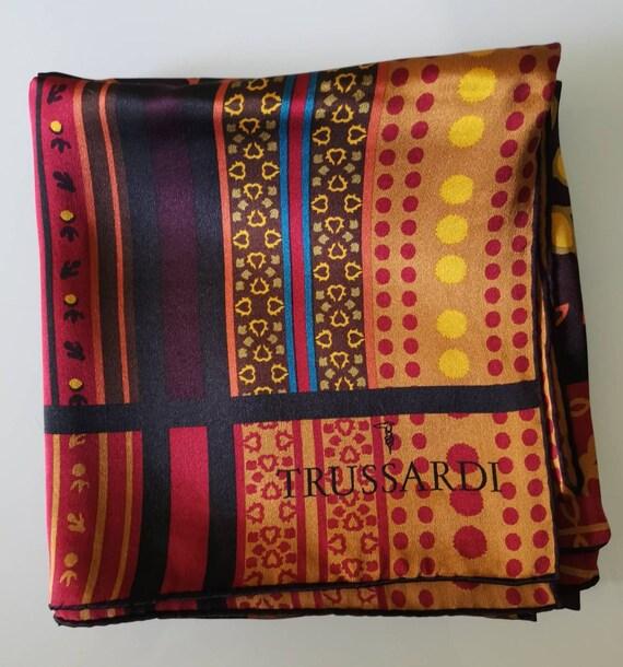 TRUSSARDI, Silk scarf Vintage scarf Italian vinta… - image 2