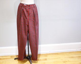 1d3fe1b5f2 Red plaid pants, vintage high waisted pants, tartan pants