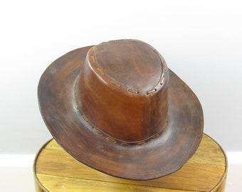 ad00491cb5b99 Brown leather Western hat 60.5 cm